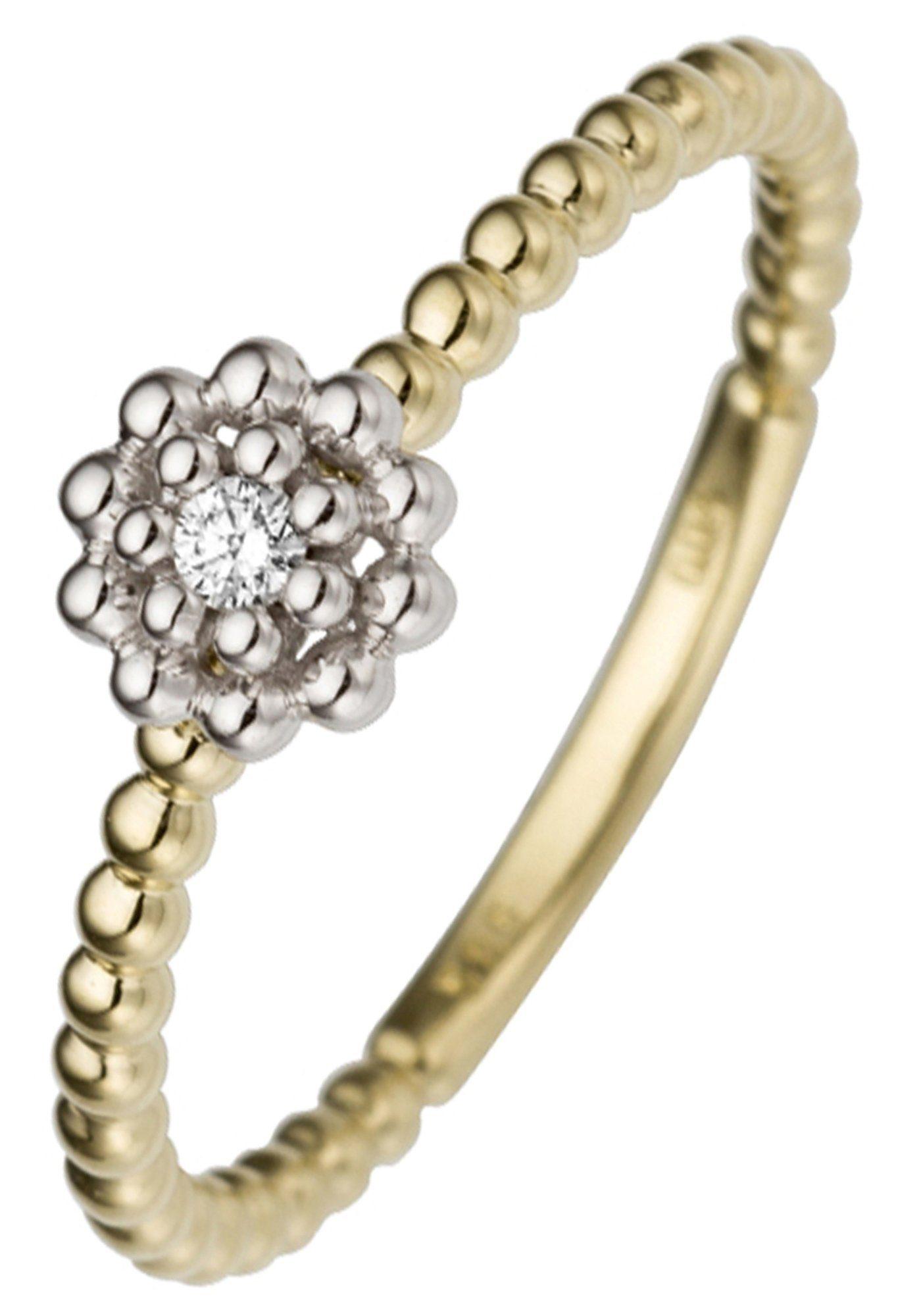 JOBO Diamantring »Blume« 585 Gold bicolor mit 1 Diamant