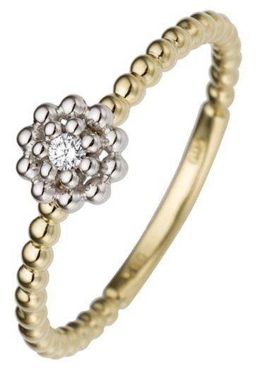 JOBO Diamantring »Blume«, 585 Gold bicolor mit Diamant