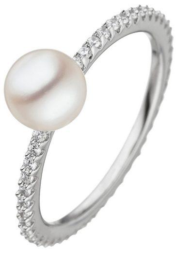 JOBO Perlenring 925 Silber mit Süßwasser-Zuchtperle und Zirkonia