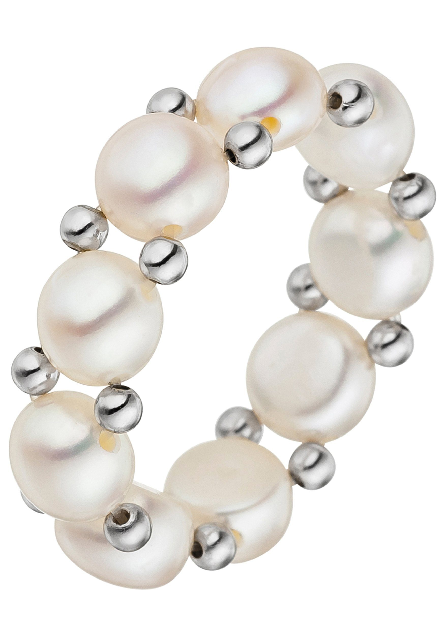 JOBO Perlenring 925 Silber mit Süßwasser-Zuchtperlen