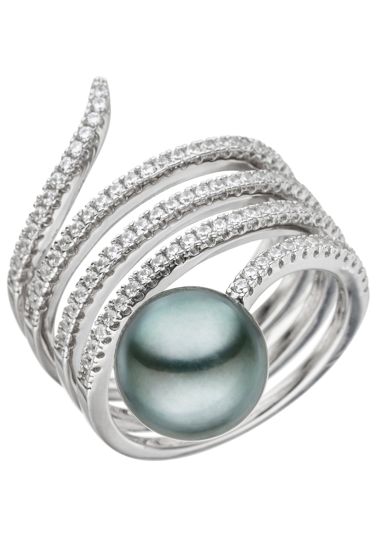JOBO Perlenring 925 Silber mit Tahiti-Zuchtperle und Zirkonia