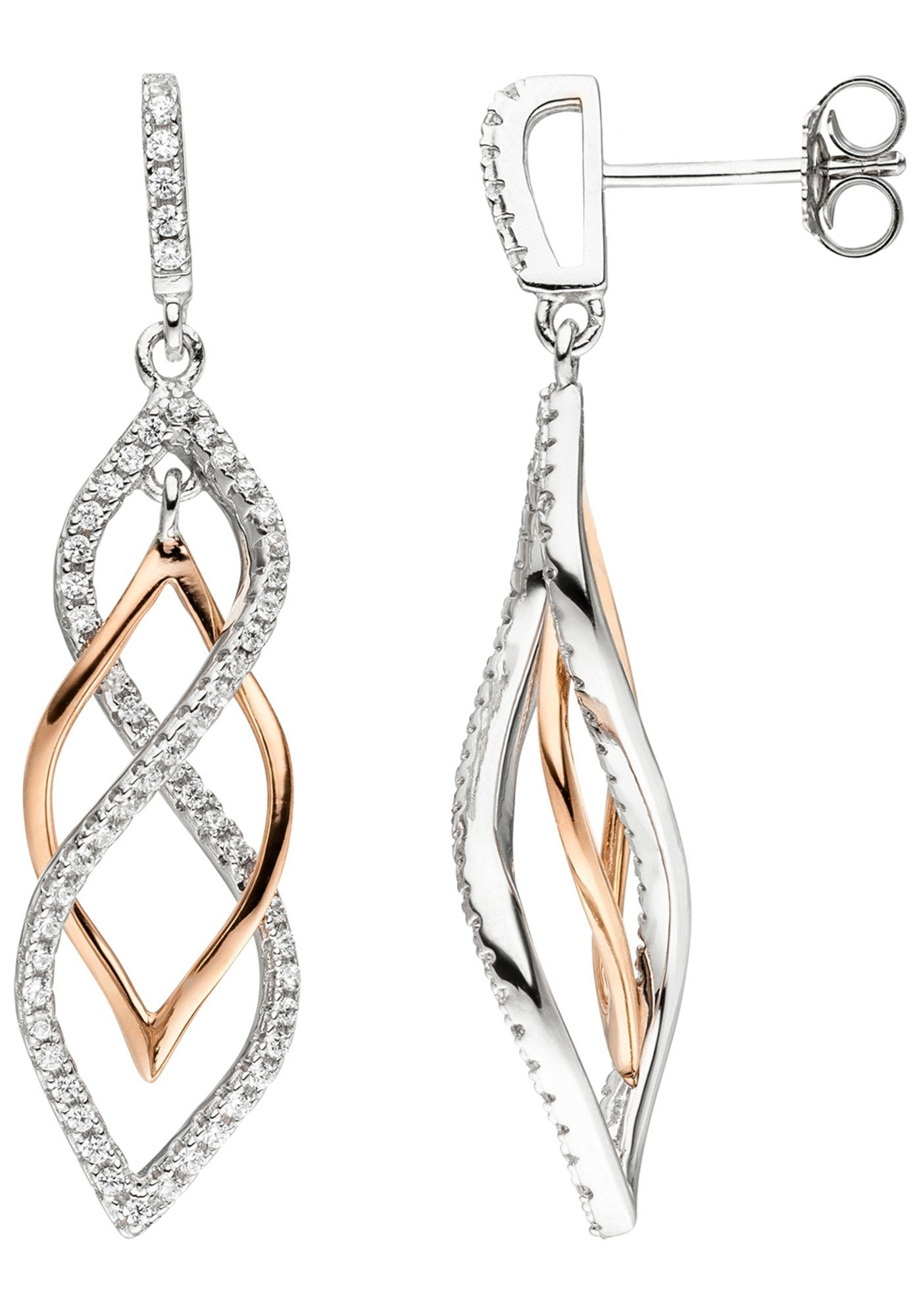 JOBO Paar Ohrhänger 925 Silber bicolor vergoldet mit Zirkonia
