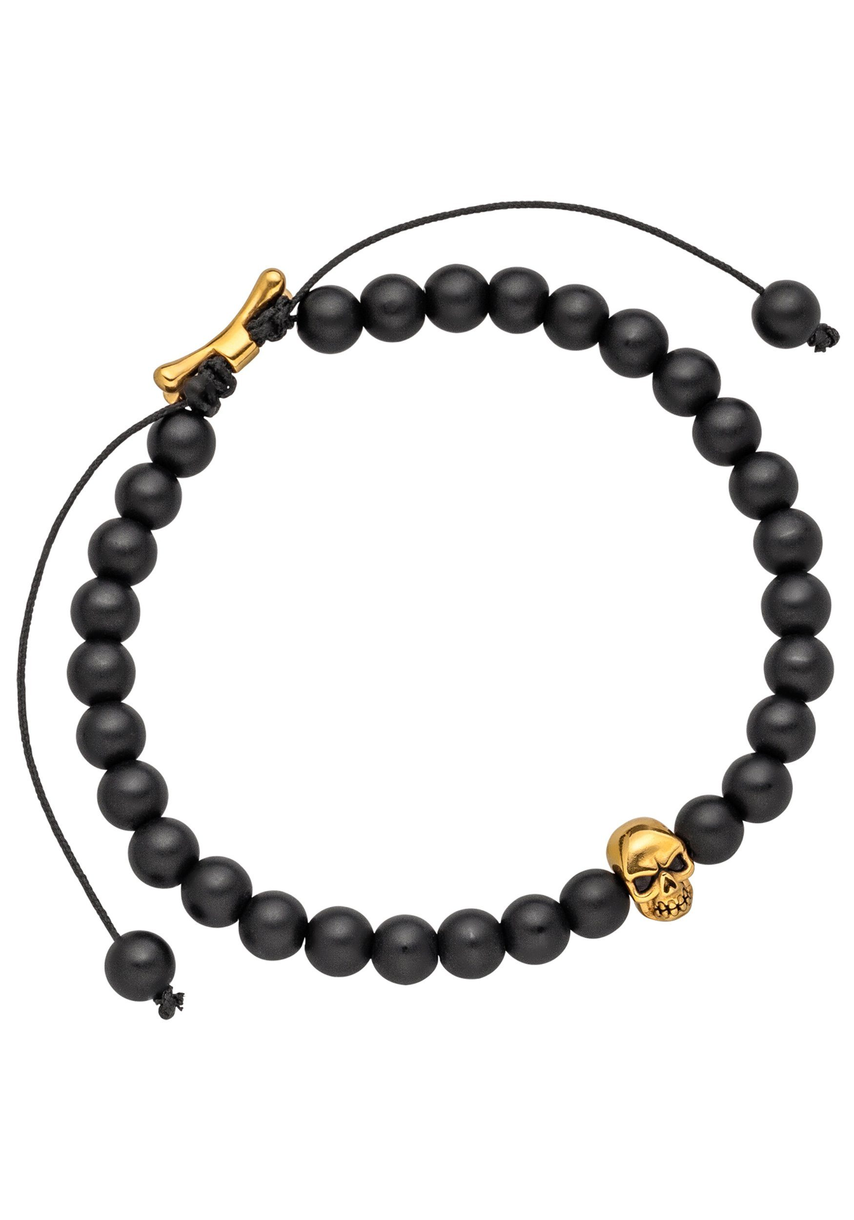JOBO Armband »Totenkopf« Edelstahl mit Onyx