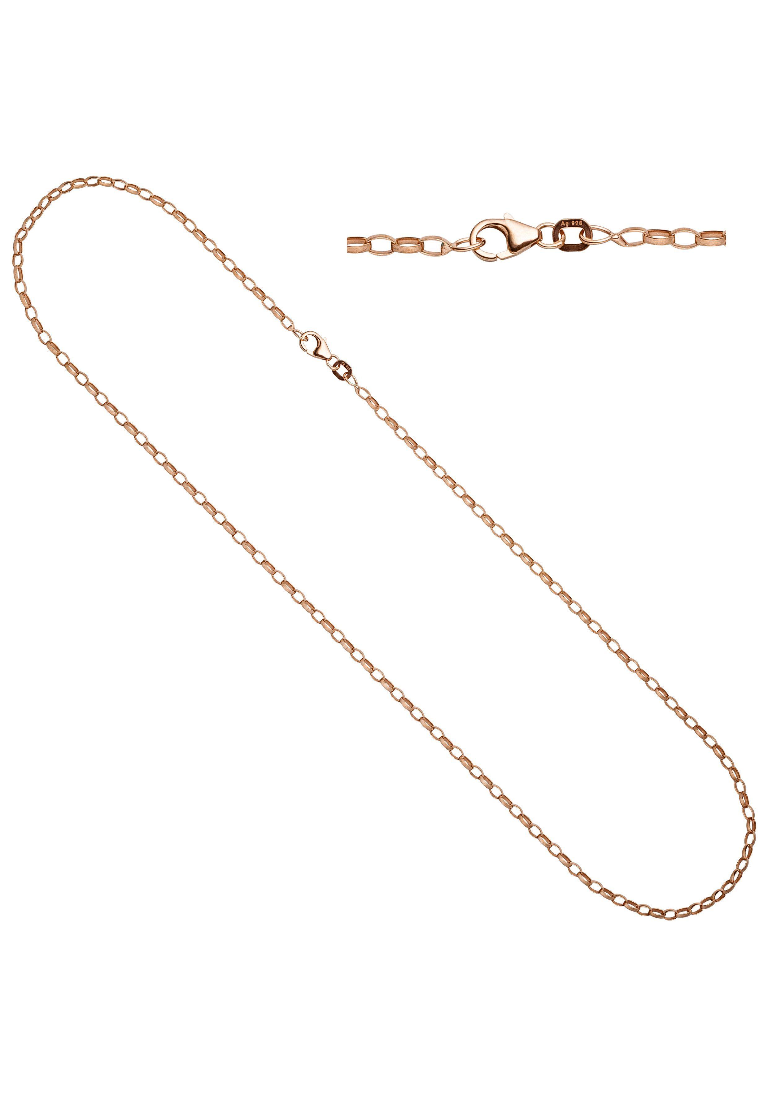 JOBO Kette ohne Anhänger Ankerkette 925 Silber roségold vergoldet 70 cm