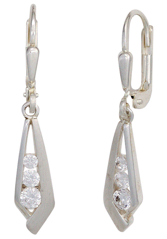 JOBO Paar Ohrhänger 925 Silber mit Zirkonia