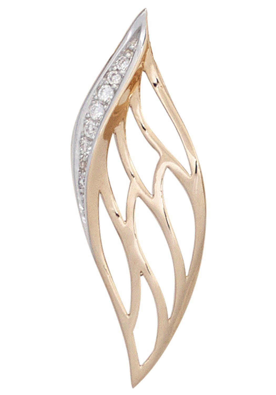 JOBO Kettenanhänger 585 Roségold mit 8 Diamanten