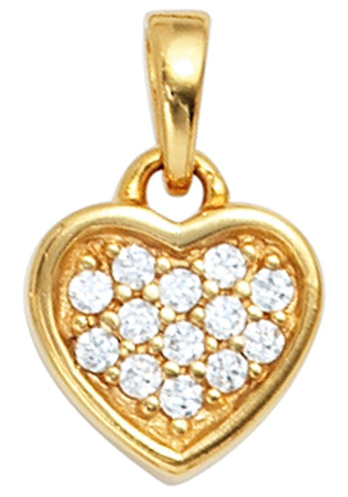 JOBO Herzanhänger »Herz« 925 Silber vergoldet mit Zirkonia
