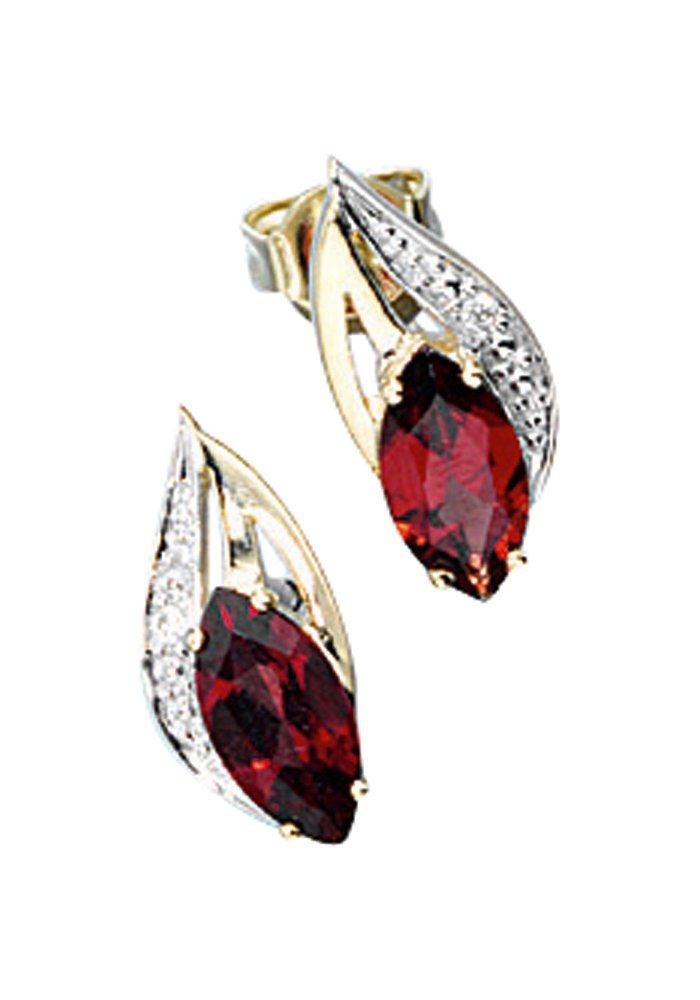 JOBO Paar Ohrstecker 585 Gold mit 2 Diamanten und Granat | Schmuck > Ohrschmuck & Ohrringe > Ohrstecker | Gold | JOBO