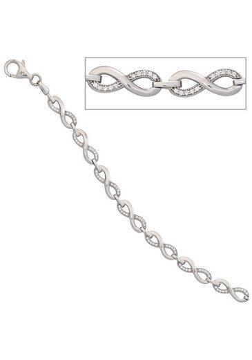 JOBO Silberarmband, 925 Silber mit Zirkonia 19 cm