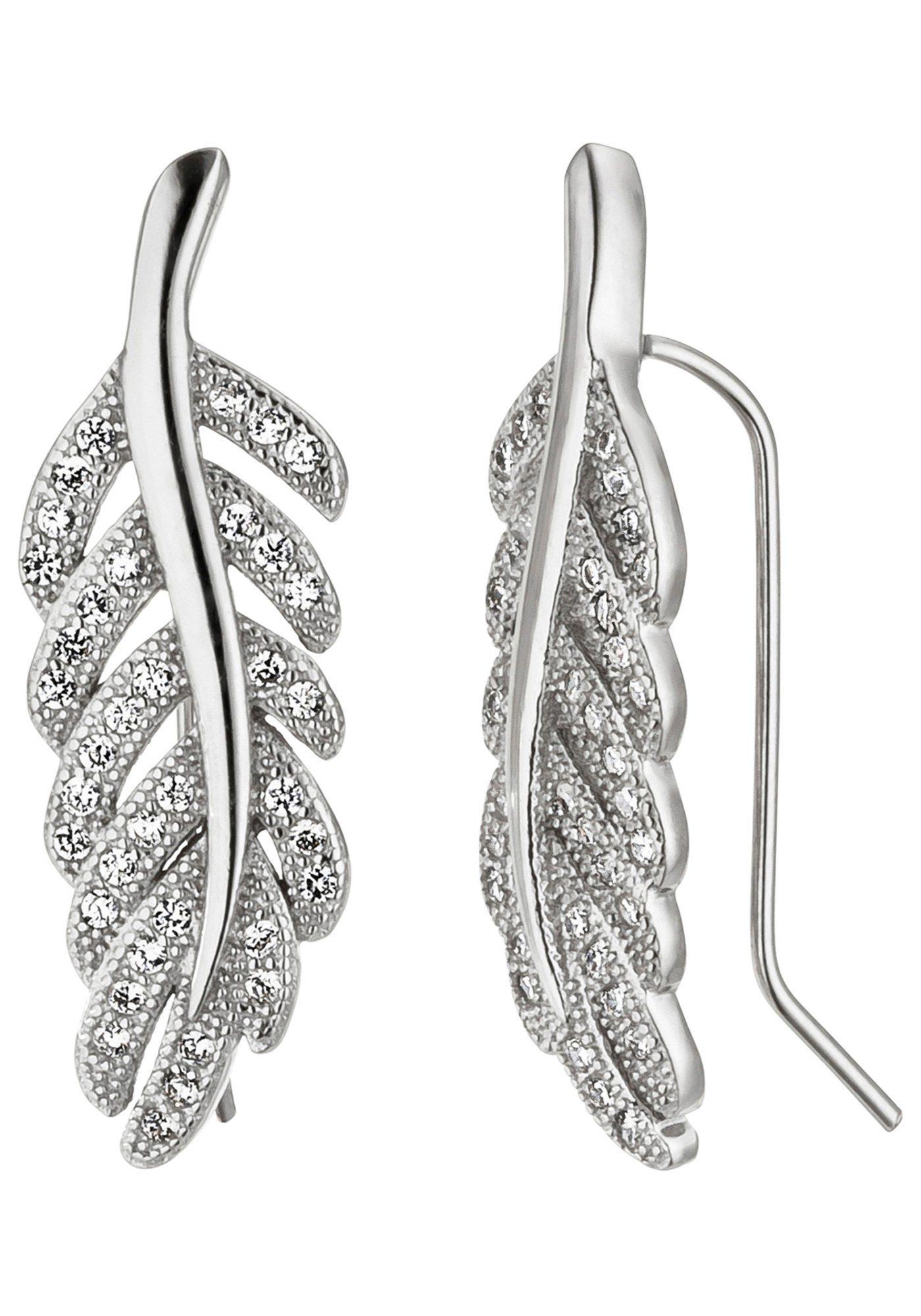 JOBO Paar Ohrhänger »Feder« 925 Silber mit Zirkonia