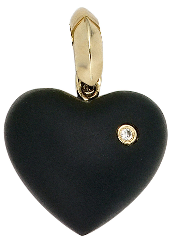JOBO Herzanhänger »Herz« 585 Gold mit 1 Diamant und Onyx