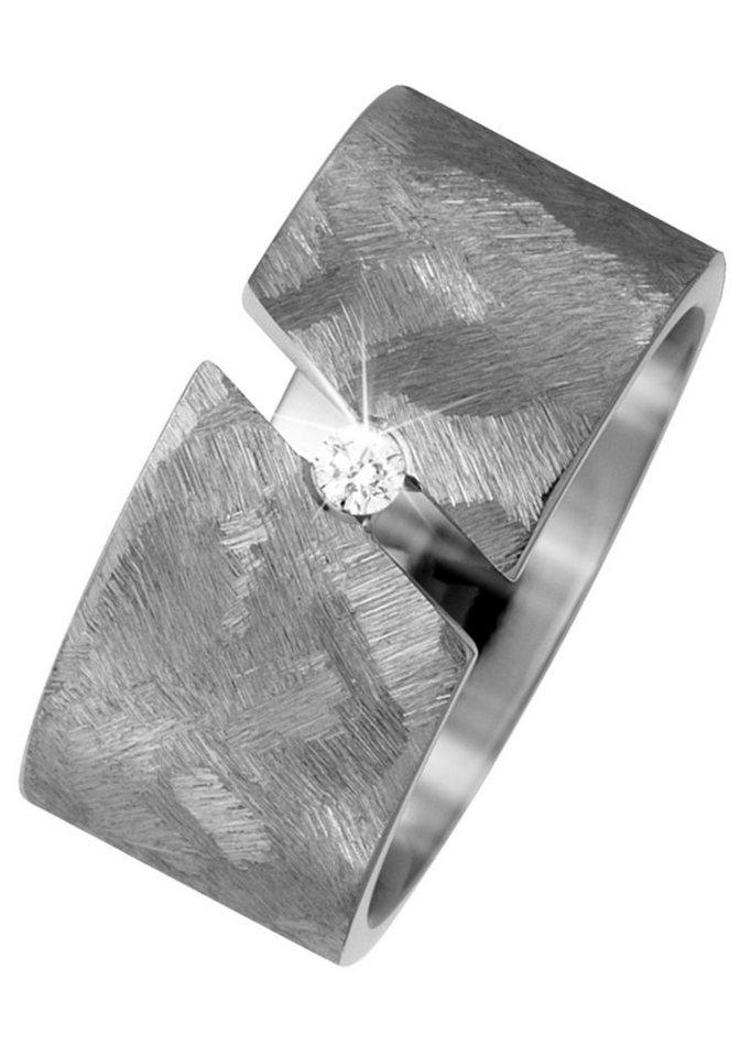 JOBO Partnerring breit Titan mit 1 Diamant   Schmuck > Ringe > Partnerringe   Si   JOBO