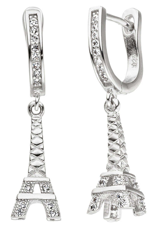 JOBO Paar Creolen »Eiffelturm« 925 Silber mit Zirkonia
