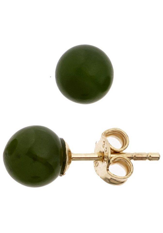 JOBO Paar Ohrstecker 333 Gold mit Jade | Schmuck > Ohrschmuck & Ohrringe > Ohrstecker | Goldfarben | JOBO