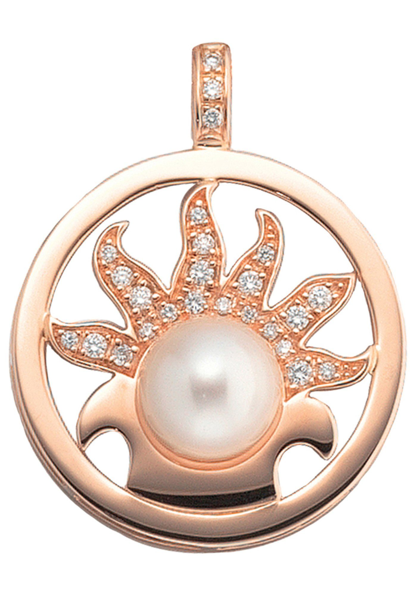 JOBO Perlenanhänger rund 750 Roségold 25 Diamanten 1 Süßwasser Perle
