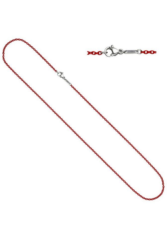 JOBO Edelstahlkette Rundankerkette Edelstahl rot lackiert 45 cm | Schmuck > Halsketten > Edelstahlketten | JOBO