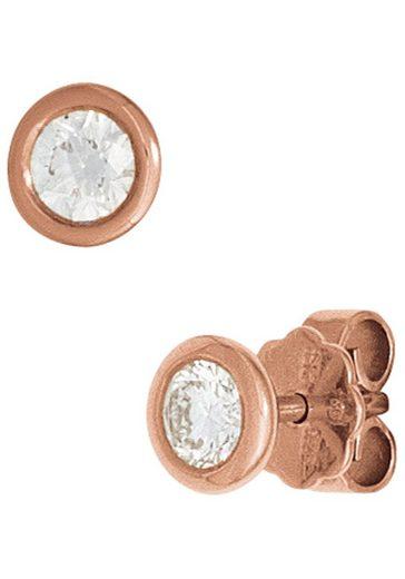 JOBO Paar Ohrstecker 585 Roségold mit 2 Diamanten