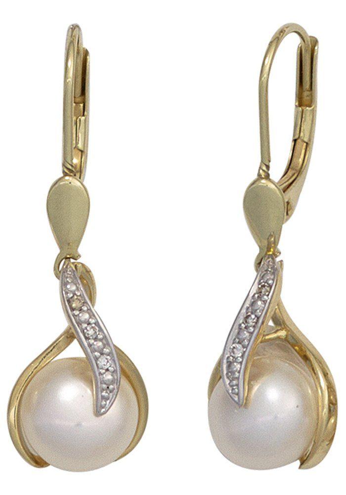 JOBO Perlenohrringe 585 Gold mit 6 Diamanten und Süßwasser-Zuchtperlen