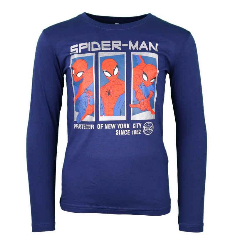 MARVEL Langarmshirt »Spider-Man Kinder Shirt« gr. 104 bis 134, 100% Baumwolle, in Blau