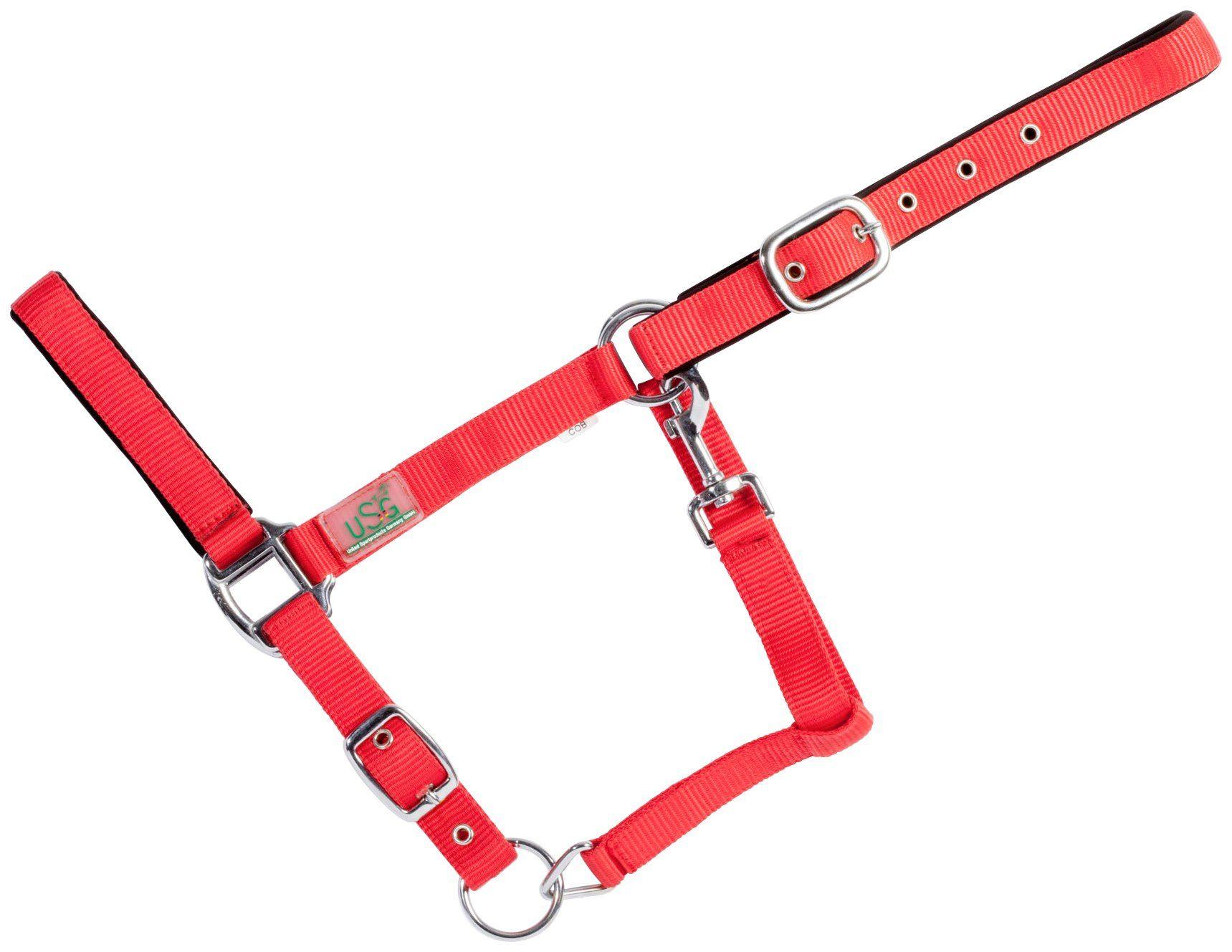 USG Halfter , für Warmblut, rot