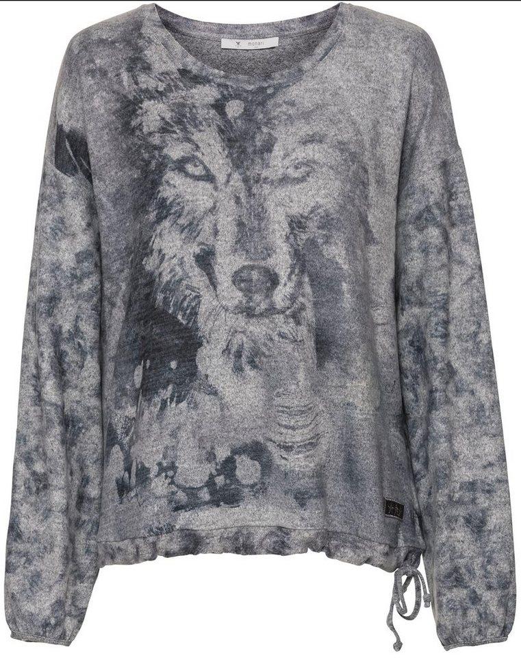 Damen Monari  Sweatshirt mit Tiermotiv als Druck grau | 04047498762702