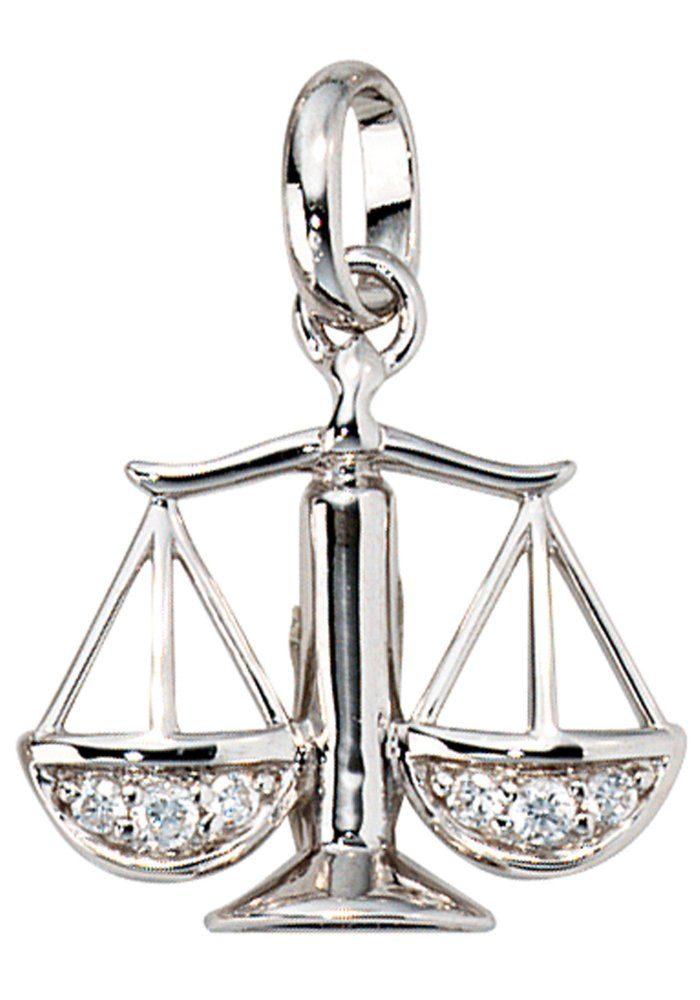 JOBO Sternzeichenanhänger Sternzeichen Waage 925 Silber mit Zirkonia