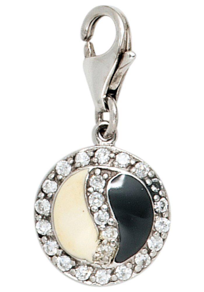 JOBO Charm-Einhänger »Ying + Yang« 925 Silber mit Zirkonia
