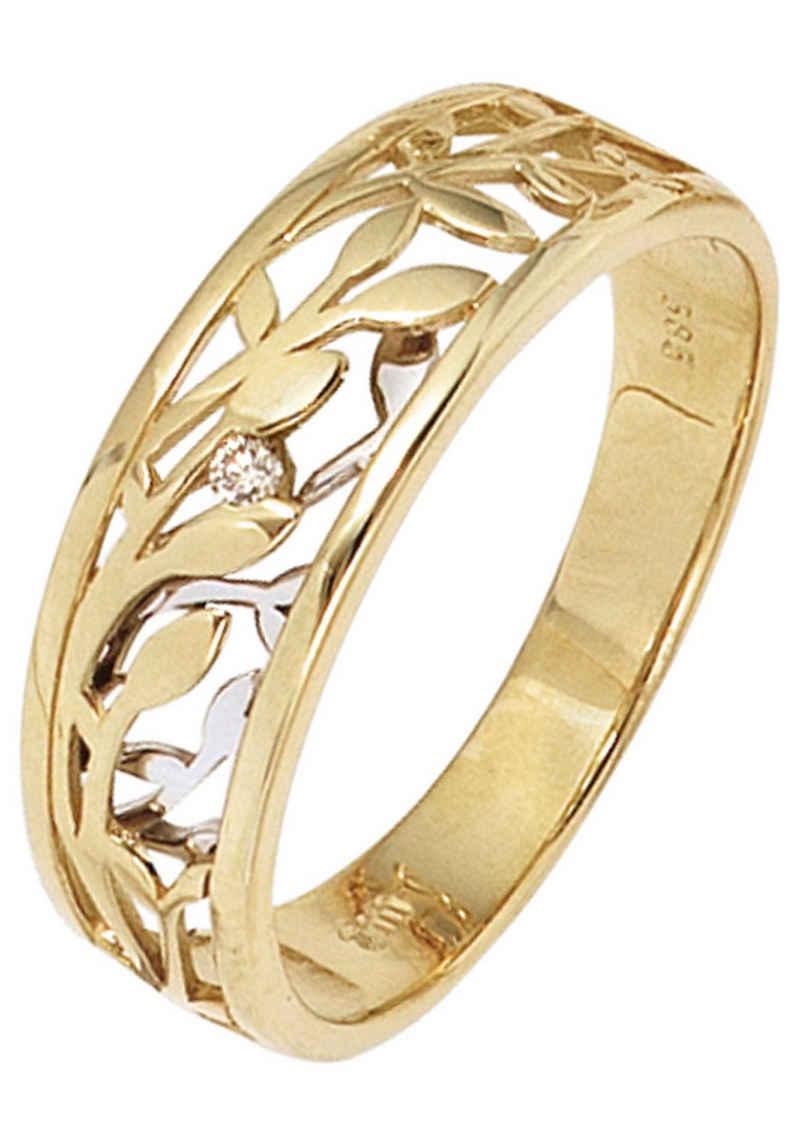 JOBO Solitärring, 585 Gold bicolor mit Diamant 0,02 ct.