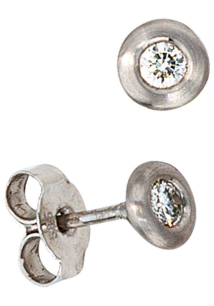 JOBO Paar Ohrstecker 585 Weißgold mit 2 Diamanten