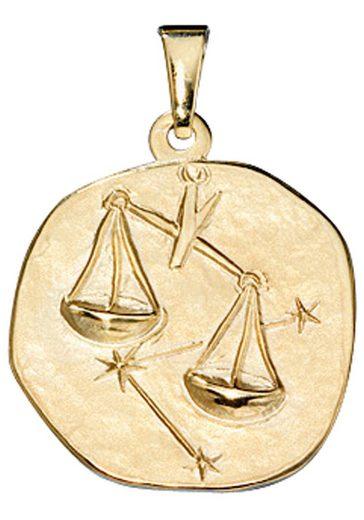 JOBO Sternzeichenanhänger, Sternzeichen Waage 333 Gold