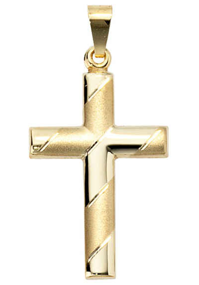 JOBO Kreuzanhänger, Kreuz 333 Gold diamantiert