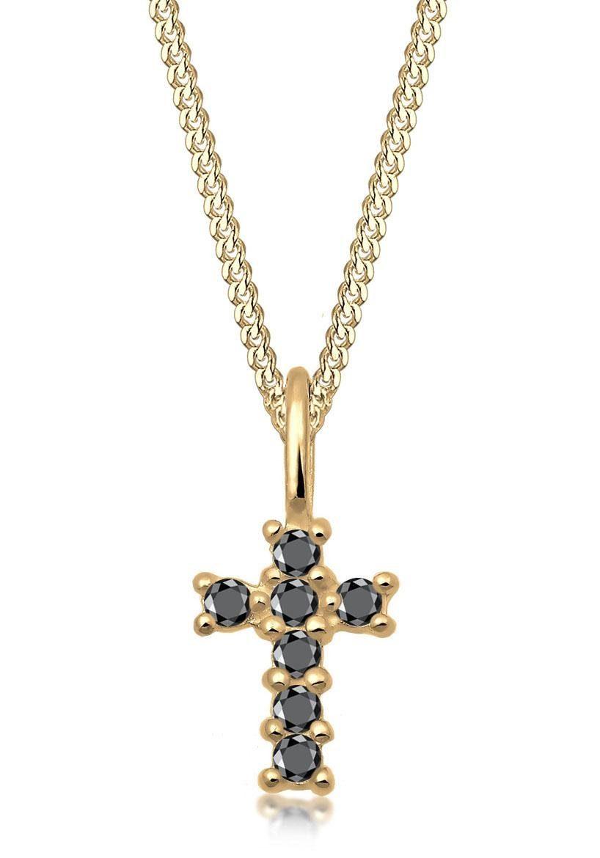Elli Premium Kette mit Anhänger »Kreuz, 0102630218« mit Diamanten