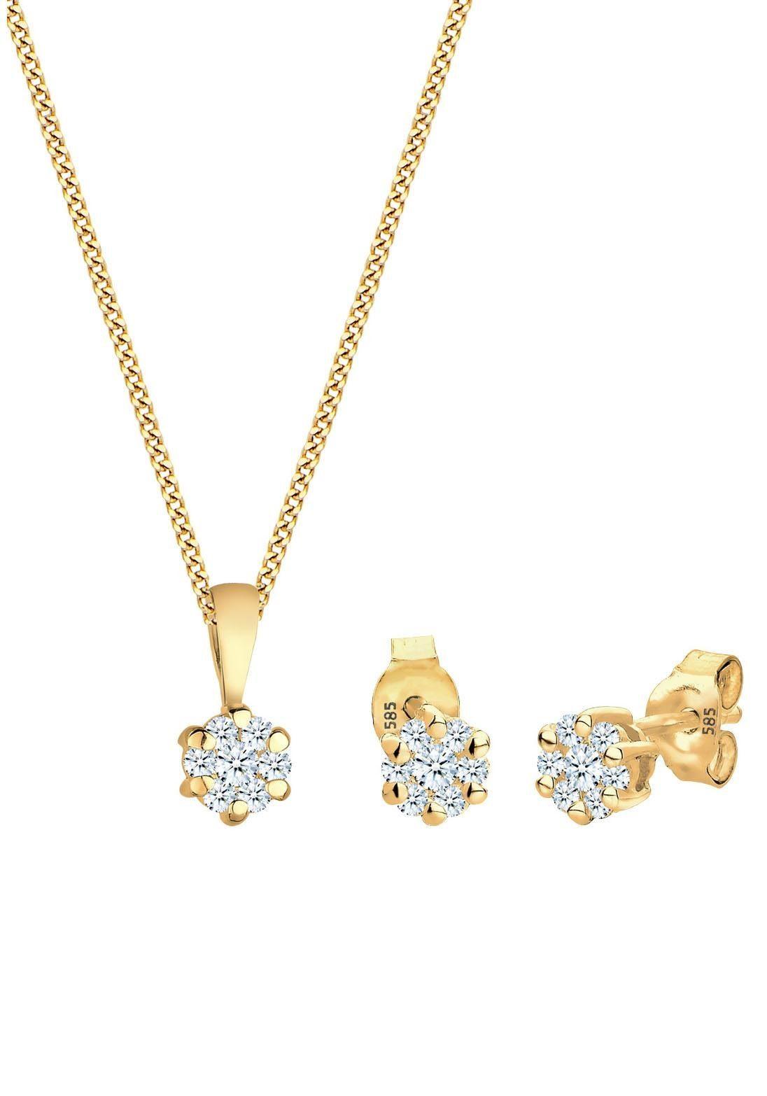 Diamore Ohrring und Ketten Set »Solitär, 0907820815« (Set, 4 tlg) mit Diamanten
