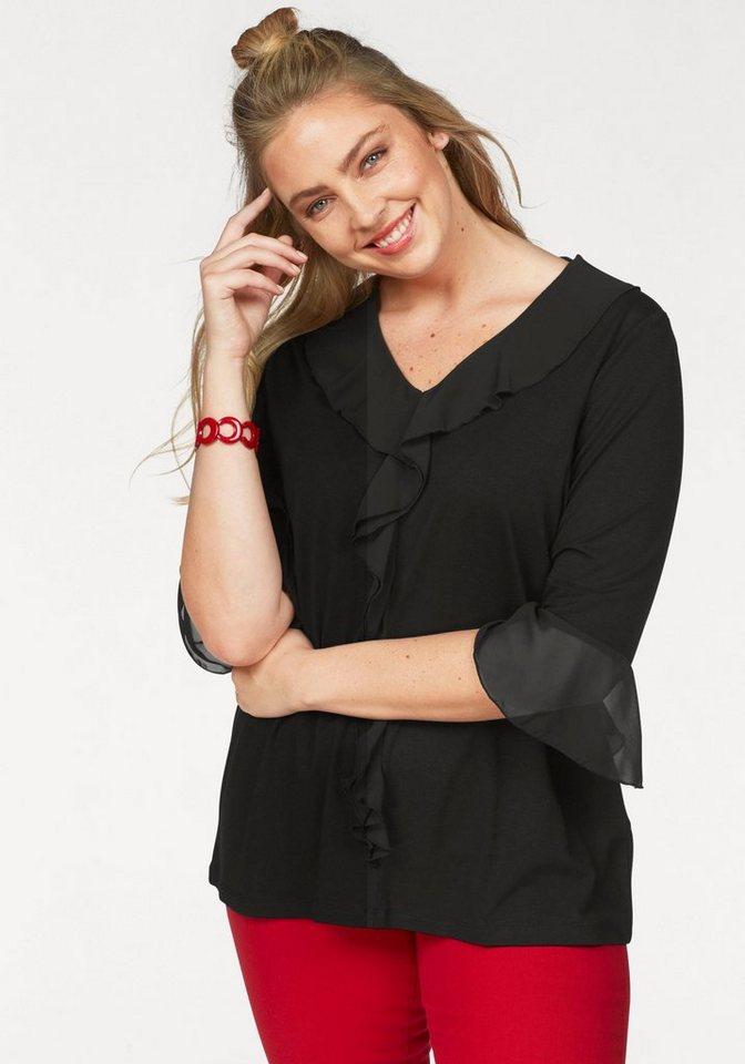 seeyou Tunikashirt mit eleganten Volants | Bekleidung > Shirts > Tunikashirts | Schwarz | seeyou