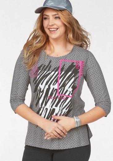 FRAPP 3/4-Arm-Shirt mit stylischem Allover-Print