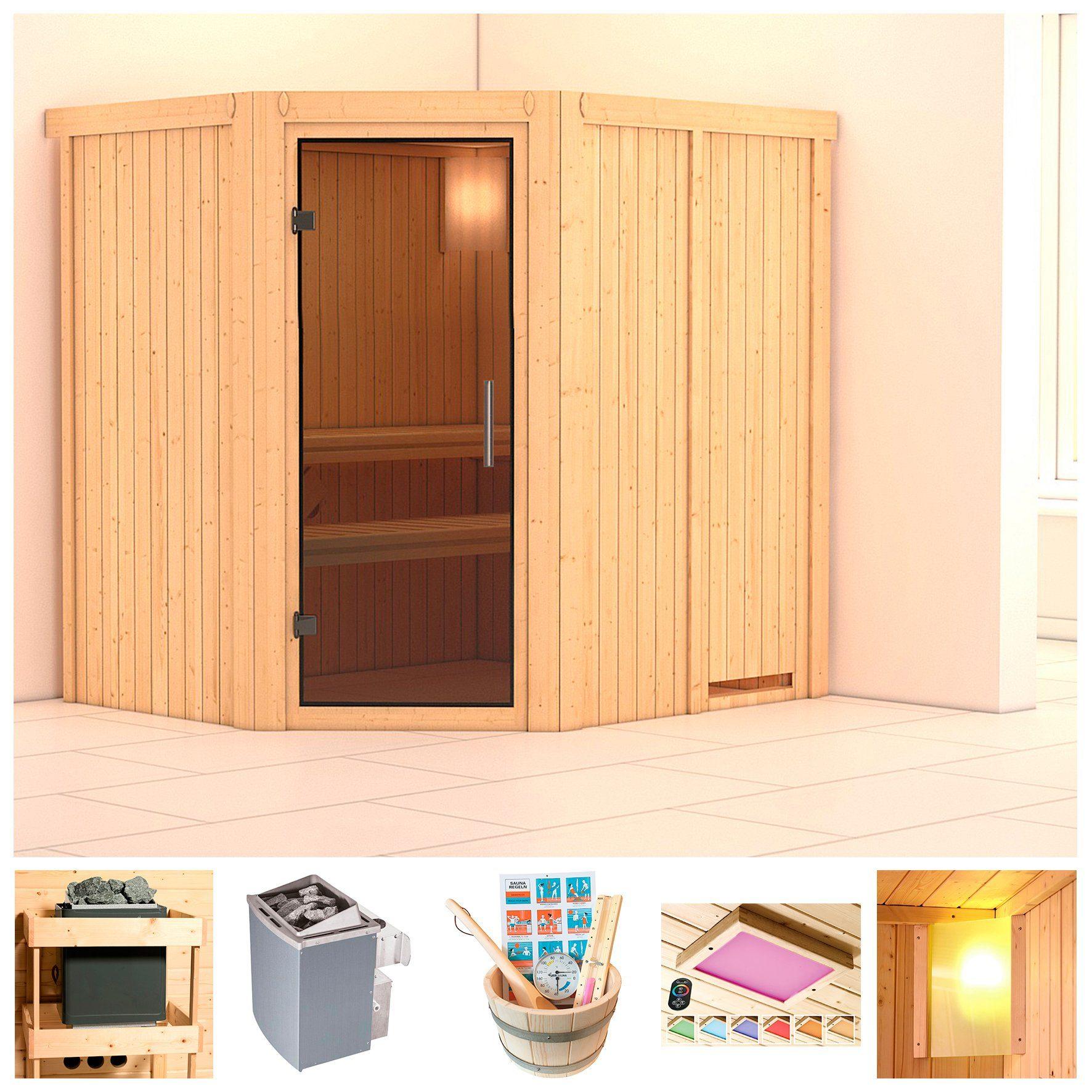 KONIFERA Sauna »Pellworm«, 196x170x198 cm, 9-kW-Ofen mit int. Steuerung