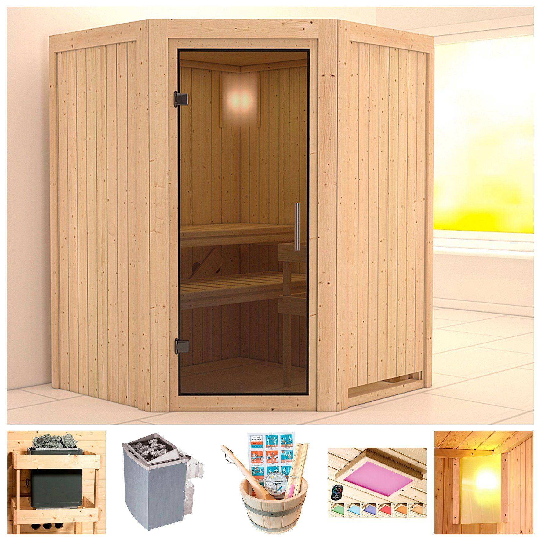 KONIFERA Sauna »Pellworm«, 151x151x198 cm, 9-kW-Ofen mit int. Steuerung