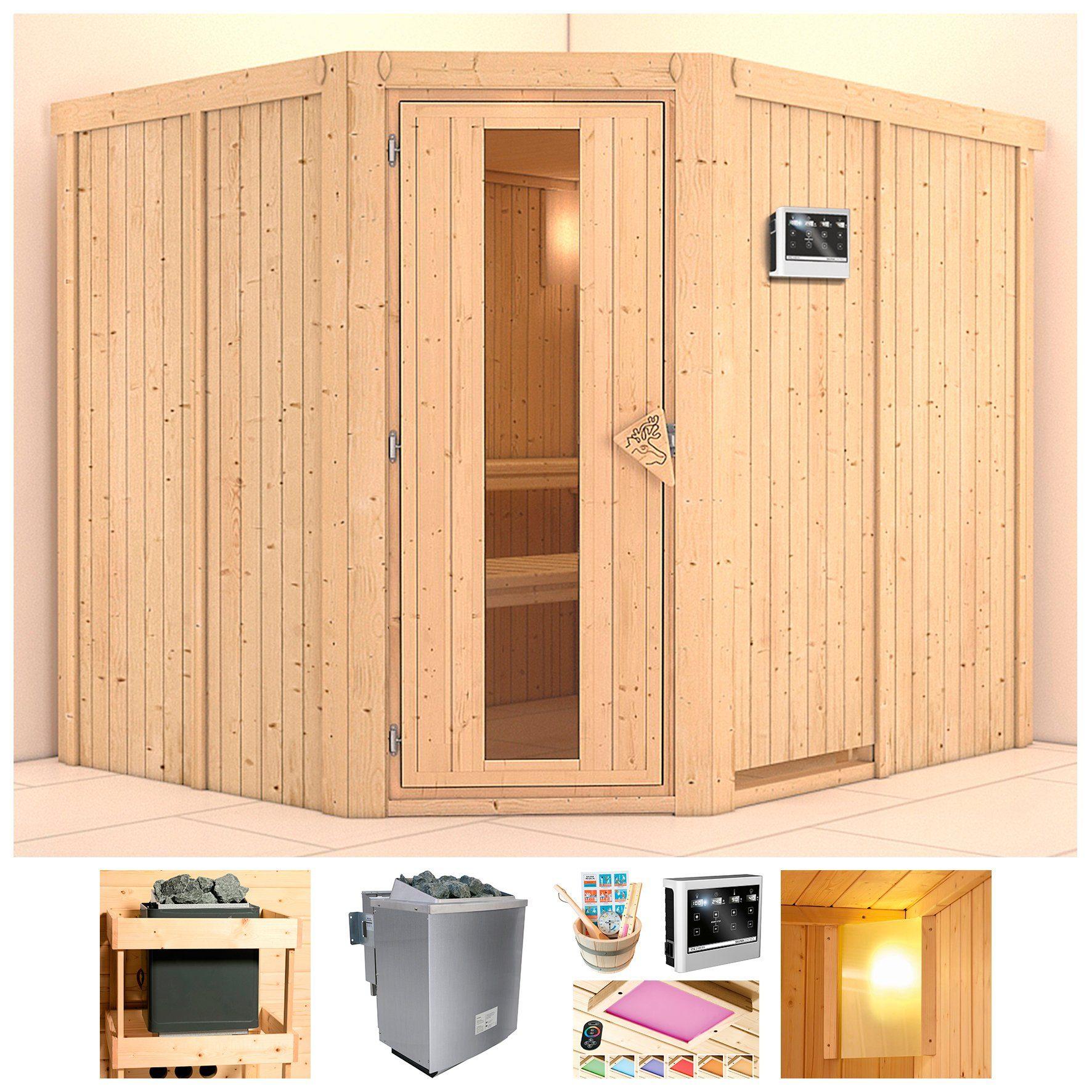 KONIFERA Sauna »Pellworm«, 231x196x198 cm, 9-kW-Bio-Ofen mit ext. Steuerung