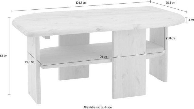 Wohnzimmertische - Home affaire Couchtisch »Jayden«, Breite 124, 5 cm, aus massiver Kiefer  - Onlineshop OTTO