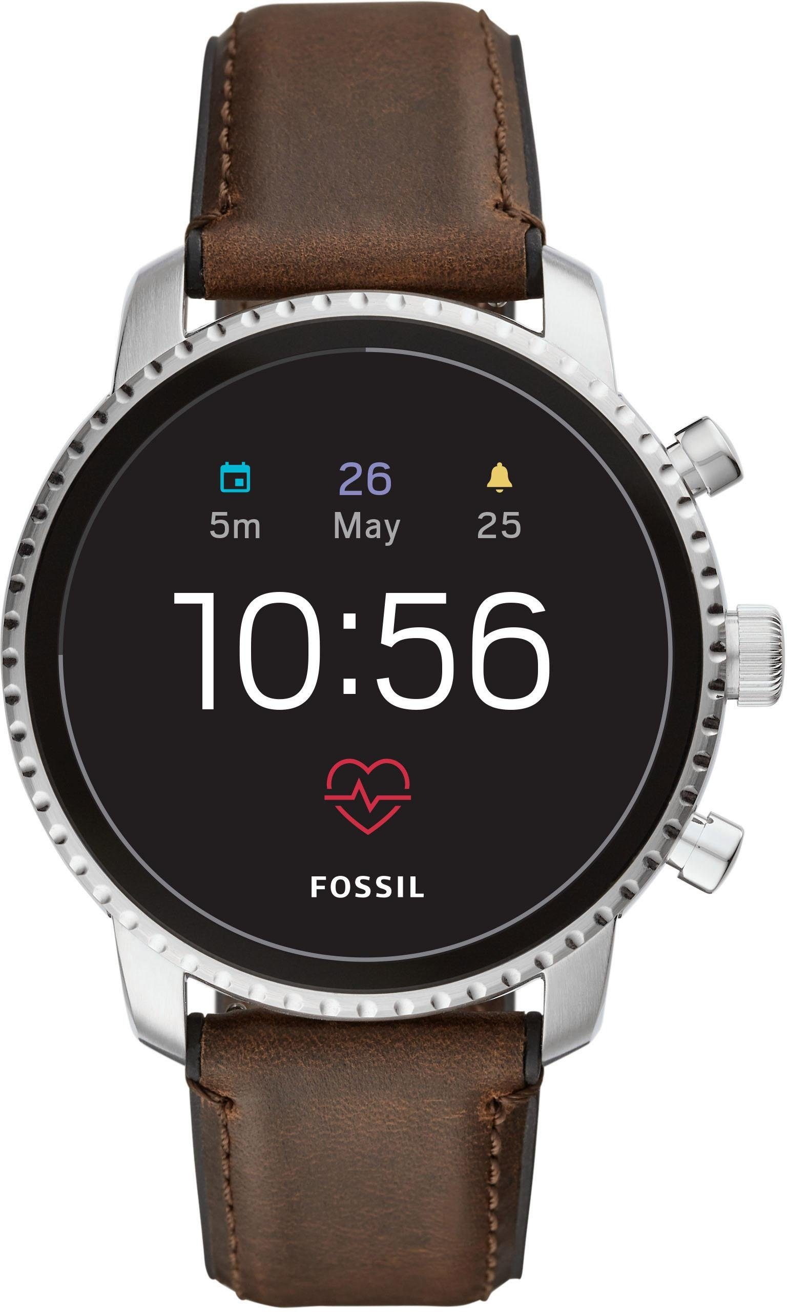 FOSSIL Q Q EXPLORIST HR, FTW4015 Smartwatch (Wear OS by Google, mit individuell einstellbarem Zifferblatt)