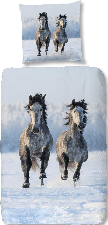 Bettwäsche »Snowhorses«, , mit Pferde Motiv