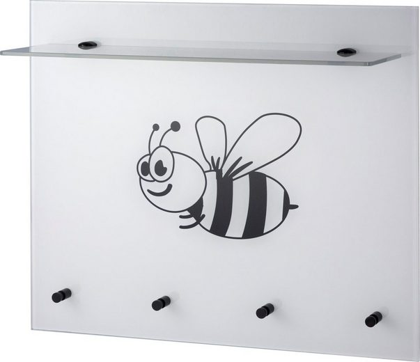 GGG MÖBEL Wandgarderobe »Biene« aus Glas mit Ablage