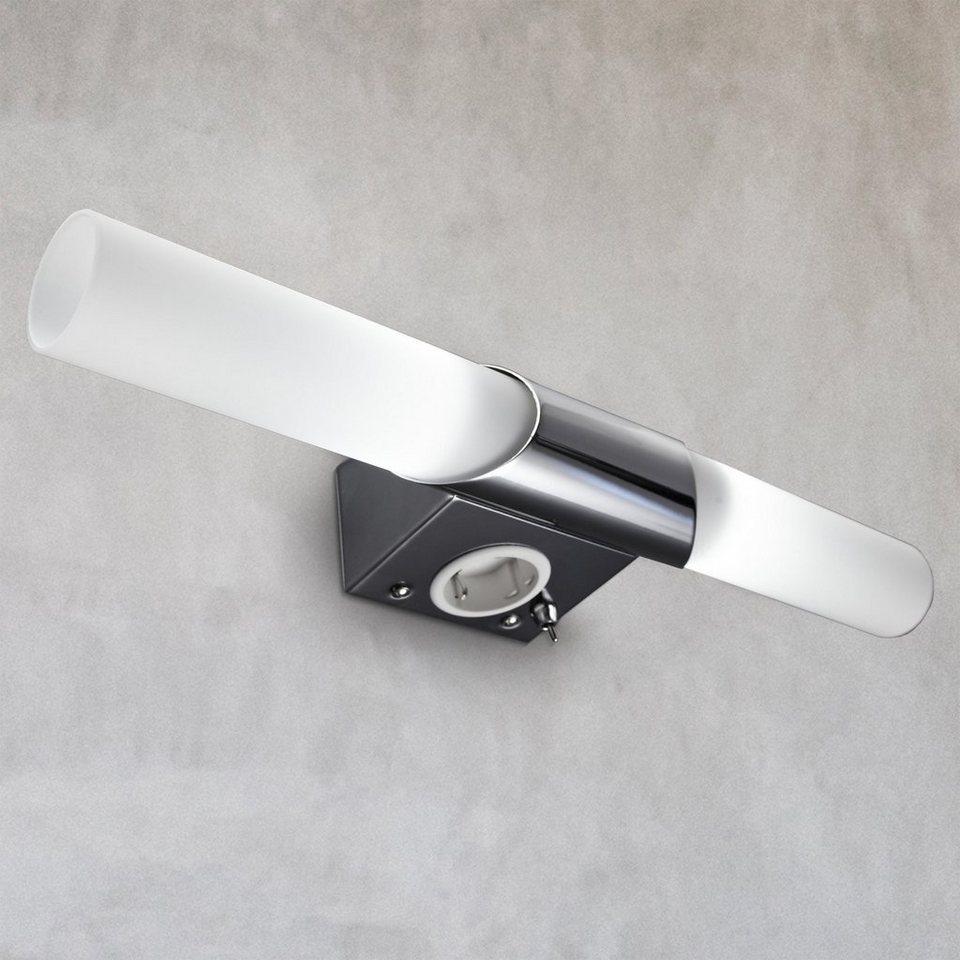 B.K.Licht Spiegelleuchte »Mithra«, LED Wandlampe Spiegellampe Badezimmer  Metall Glas E20 Bad Lampe mit Steckdose online kaufen   OTTO