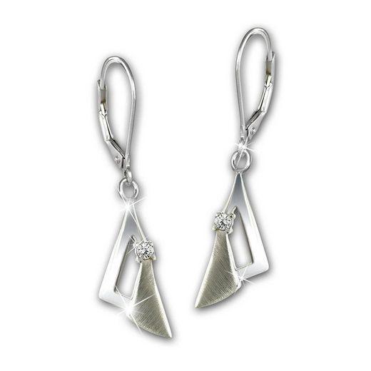 SilberDream Paar Ohrhänger »SDO4339W SilberDream Ohrringe Zirkonia 925 Echt« (Ohrhänger), Damen Ohrhänger verziertes Dreieck aus 925 Sterling Silber, Farbe: silber
