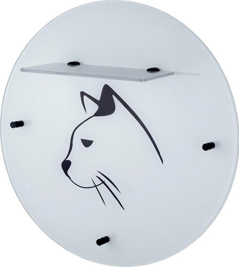 GGG MÖBEL Wandgarderobe »Katze« aus Glas mit Ablage