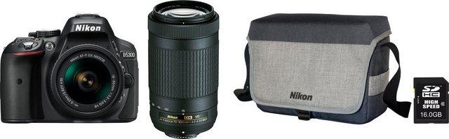 Spiegelreflexkameras - Nikon »D5300« Spiegelreflexkamera (AF P DX NIKKOR 70 300mm 1 4,5 6,3G ED VR, 24,2 MP, WLAN (Wi Fi), AF P 18 55VR AF P 70 300VR Tasche CF EU 11 16 GB SD 10 € FGS)  - Onlineshop OTTO