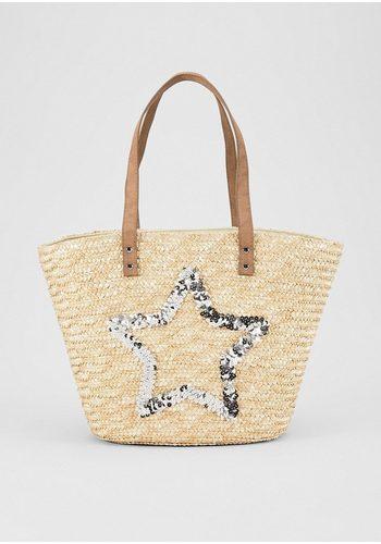 Damen s.Oliver RED LABEL Strandtasche aus Stroh mit Artwork weiß | 04059998508216
