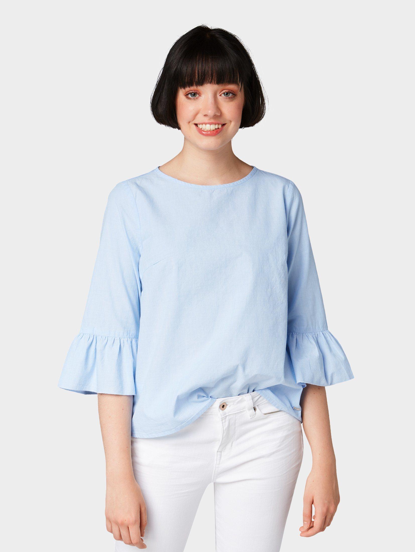 Tom Tailor Denim Shirtbluse »Tunika mit Volantärmeln« | Bekleidung > Tuniken > Sonstige Tuniken | Tom Tailor Denim