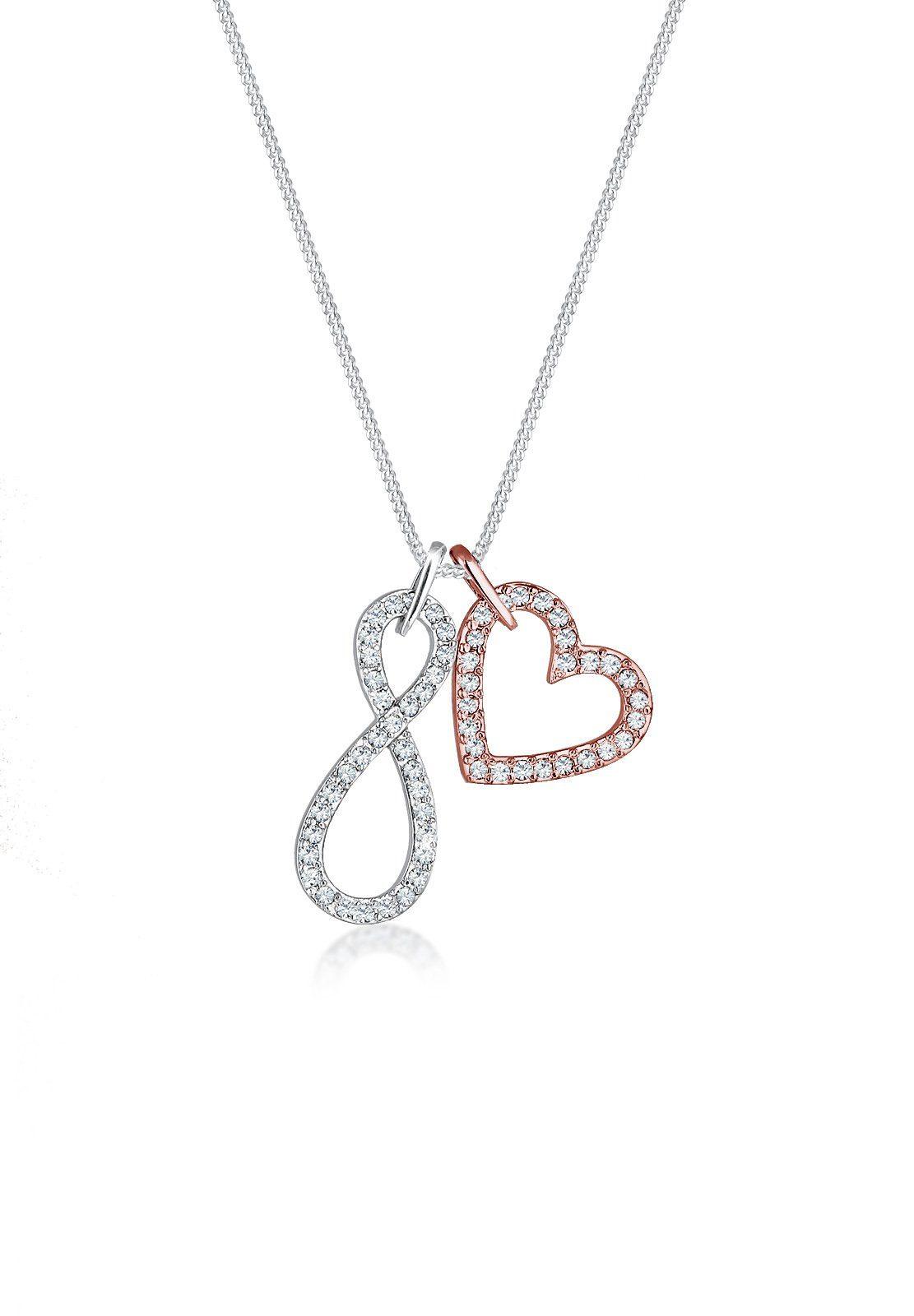 Elli Collierkettchen »Infinity Herz Swarovski® Kristall 925 Silber«