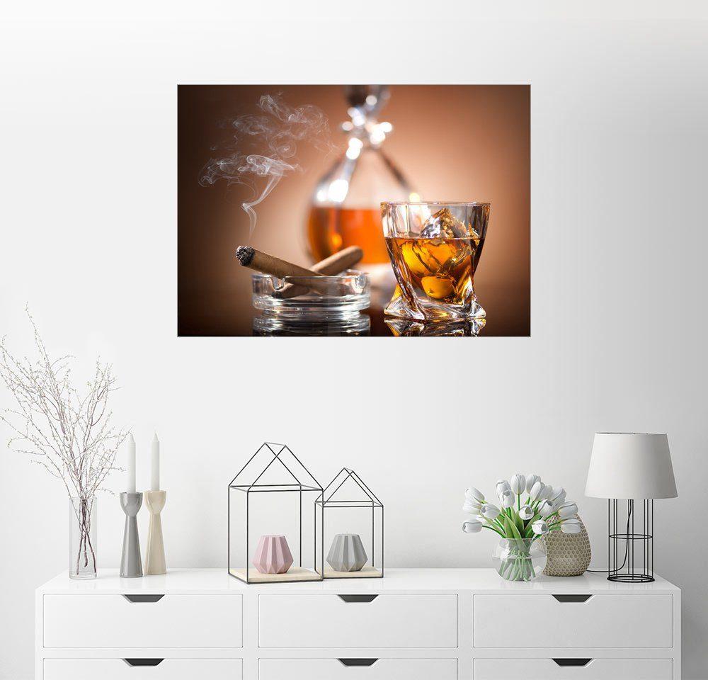 Posterlounge Wandbild »Glas Whisky und eine Zigarre«